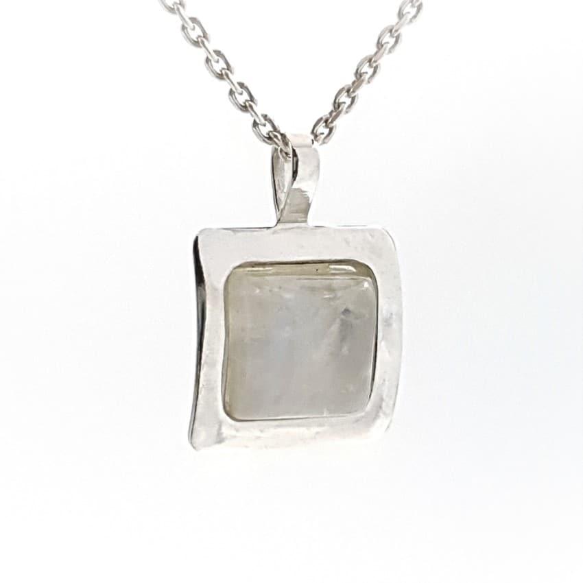 Colgantes sencillo de piedra luna en plata (4)