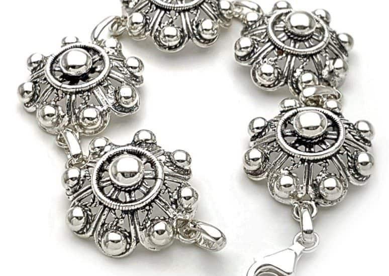 Pulsera botón charro grande en plata