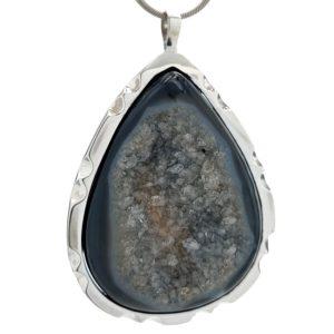Colgante Ágata negra - Druzy Onix en plata 925