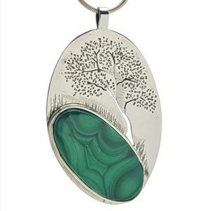 Colgante grande árbol de la vida con piedra de malaquita natural.