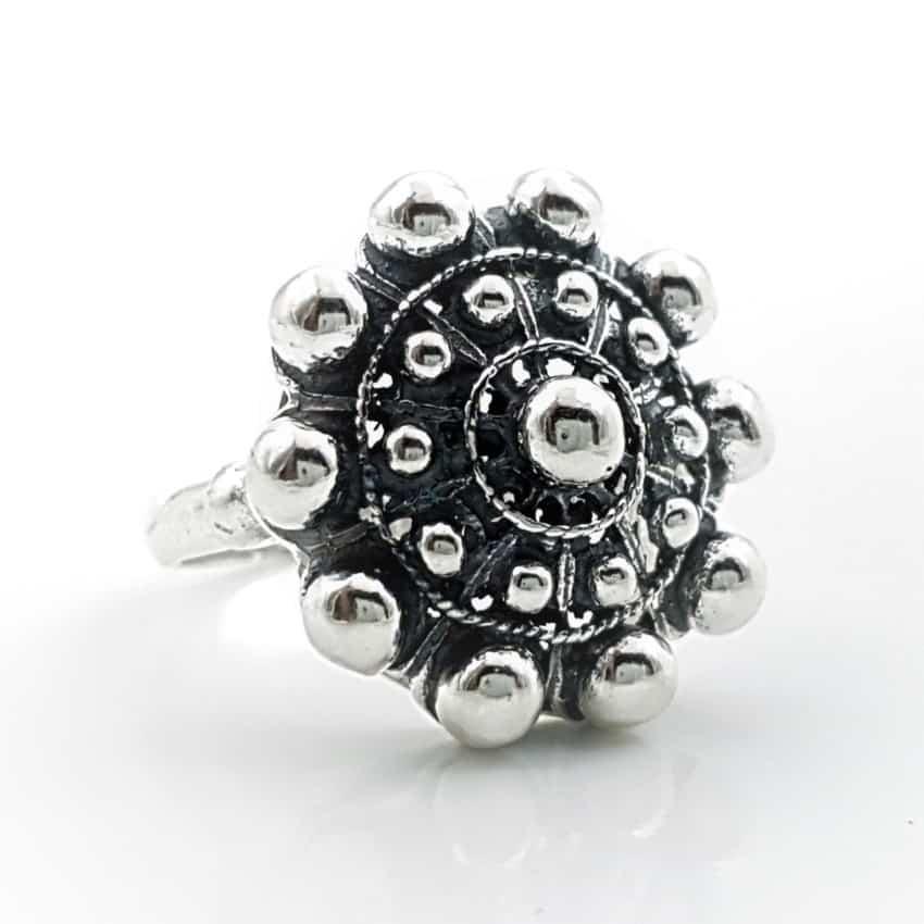 Anillo botón charro en plata tamaño grande (2)