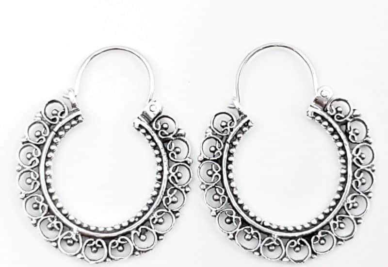 Argollas diseño boho – vintage de plata envejecida