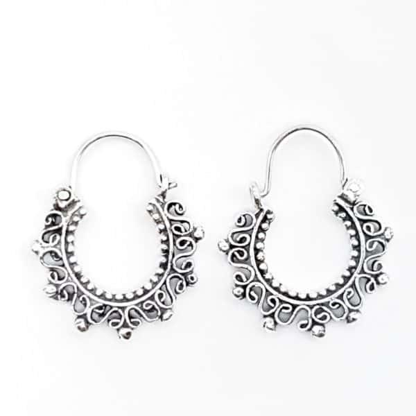 Aros de plata étnico diseño en espirales efecto envejecido1