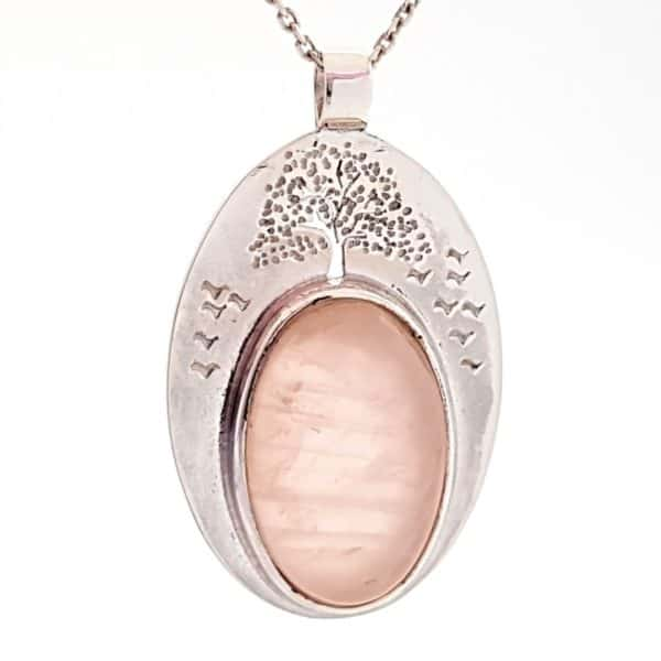 Colgante cuarzo rosa árbol de la vida en plata