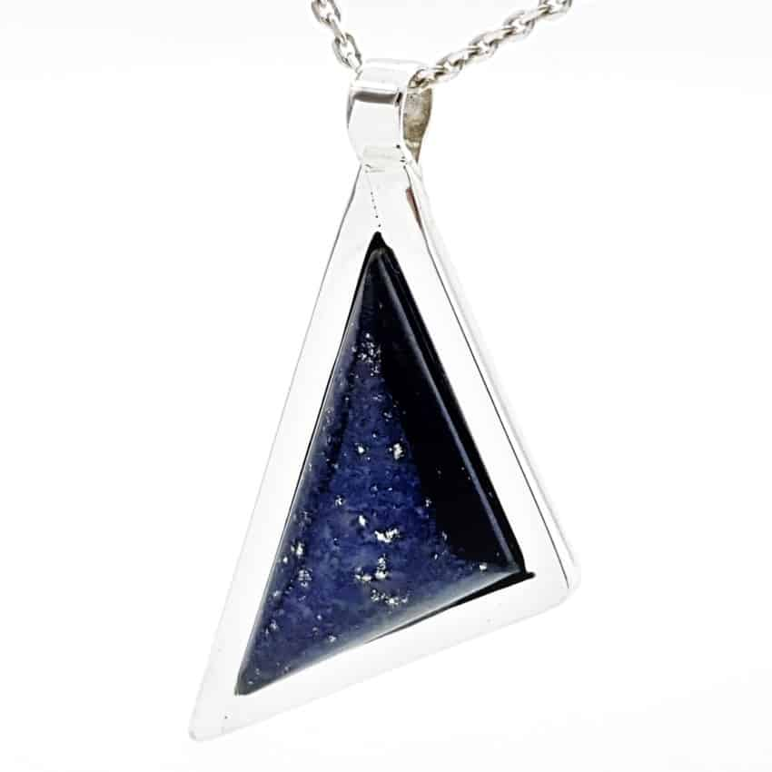 Colgante lapislázuli, diseño triangular en plata (3)