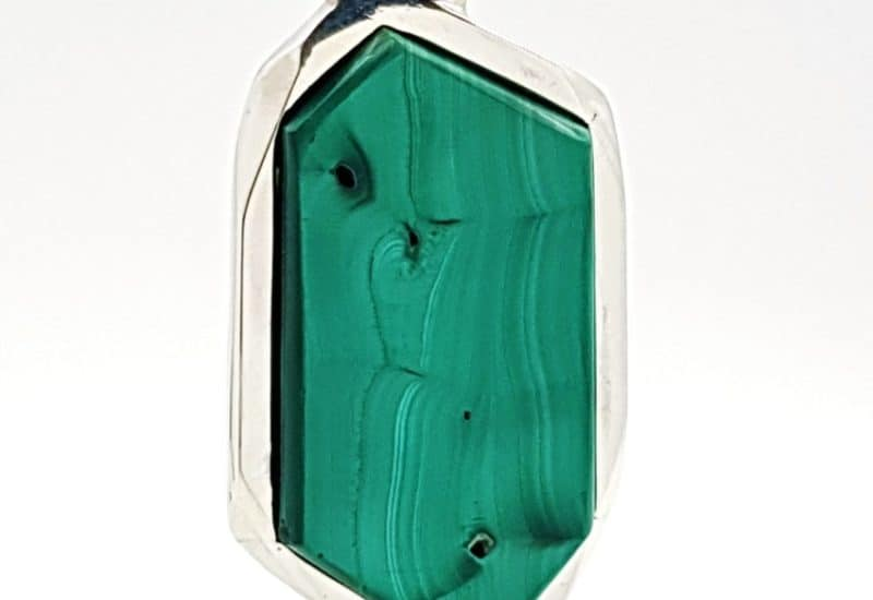 Colgante de Malaquita diseño trapezoidal en plata