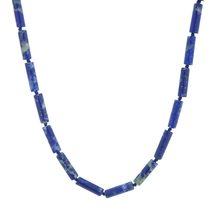 Collar cilindros de lapislázuli con cierre de plata (3)