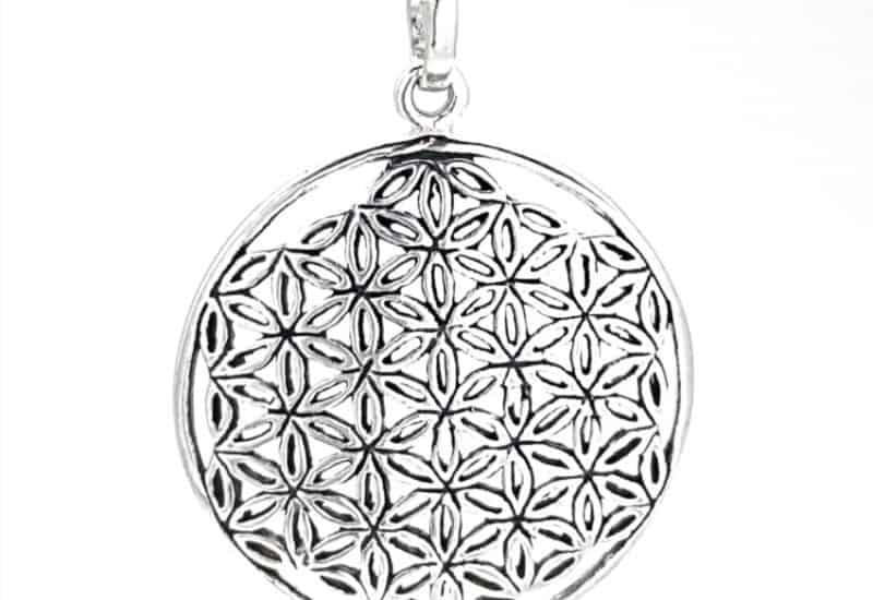Colgante Flor de la vida con efecto envejecido en plata 925