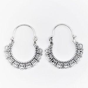 Aros diseño boho - vintage de plata envejecida