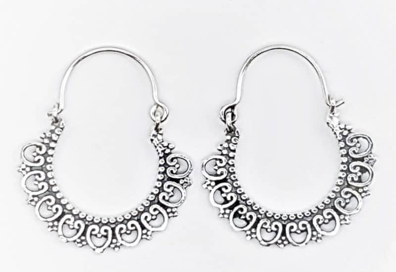 Aros diseño boho – vintage de plata envejecida