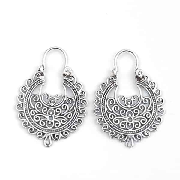 Pendientes aros filigrana espirales étnicos en plata (6)