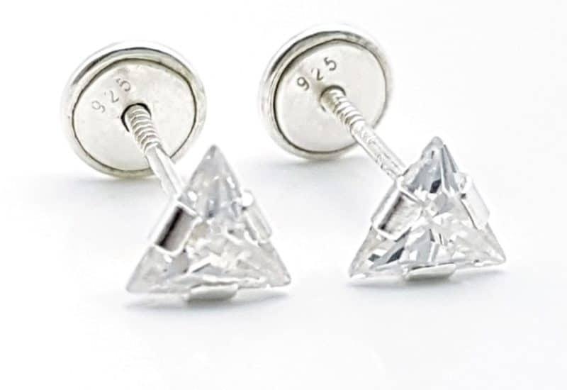 Pendientes triángulo blanco circonita
