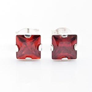 Pendientes circonita roja - forma cuadrada