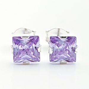 Pendientes circonita lila - forma cuadrada