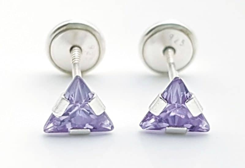 Pendientes triángulo lila circonita