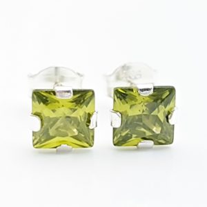 Pendientes circonita verde - forma cuadrada