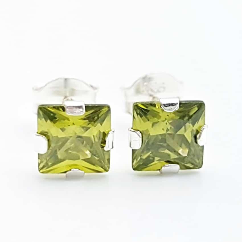 Pendientes circonita verde plata (2)