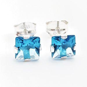 Pendientes circonita azul - forma cuadrada