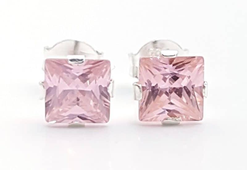 Pendientes circonita rosa – forma cuadrada