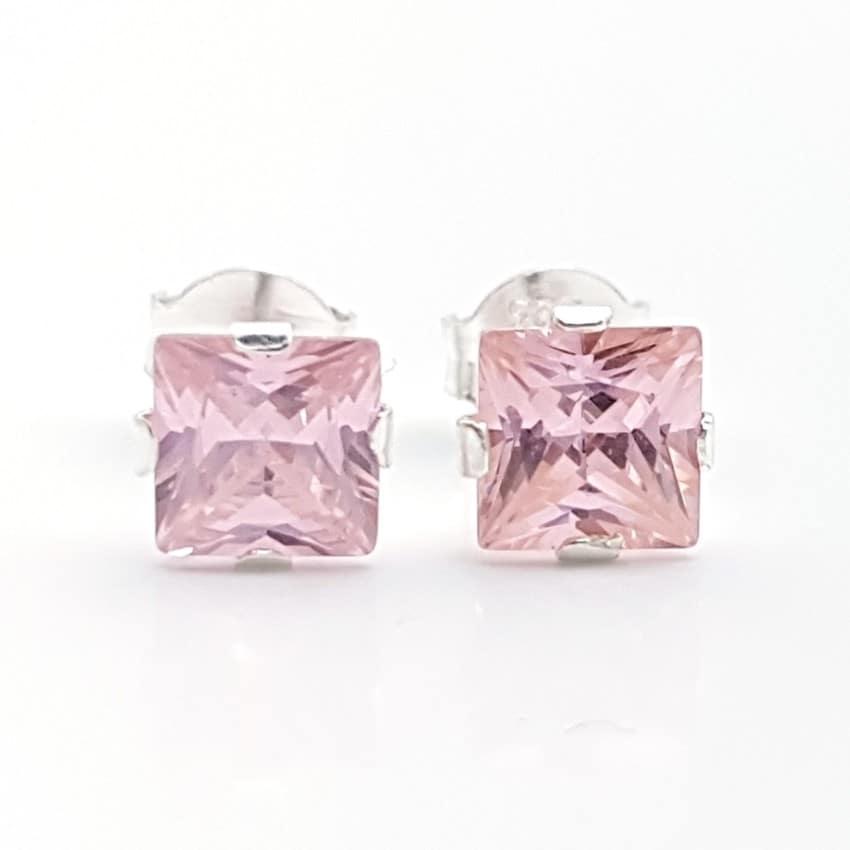 Pendientes circonitas color rosa, cuadradas plata (3)