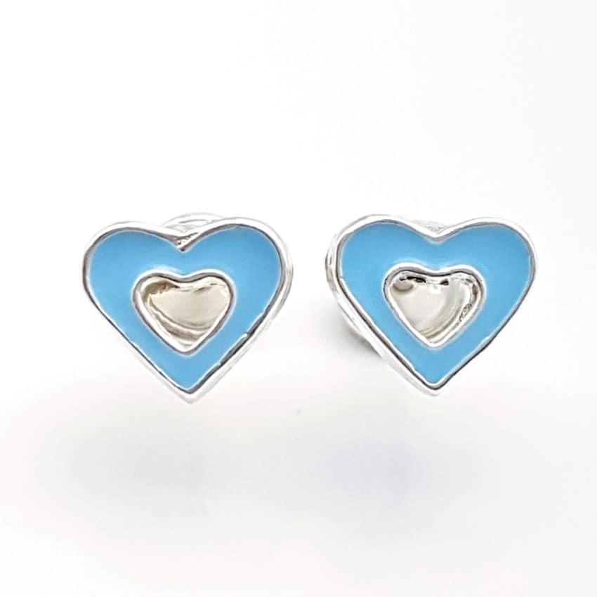 Pendientes corazón azul turquesa plata, cierre rosca especial bebés (1)