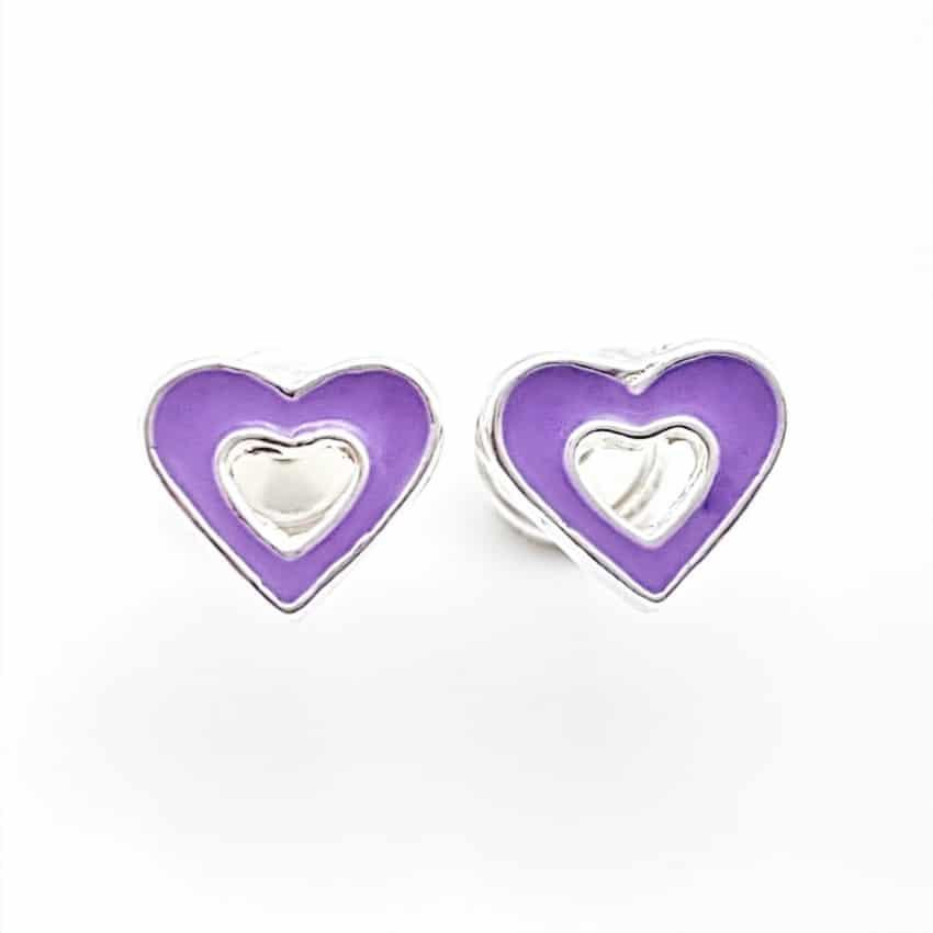 Pendientes corazón morado de plata, cierre rosca, especial bebés (2)