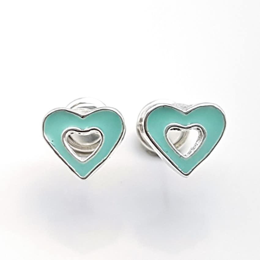 Pendientes corazón verde cierre rosca especial bebés (4)