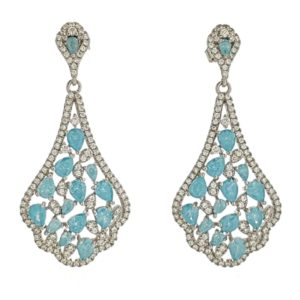 Pendientes plata 925 con circonitas azules ideal para bodas