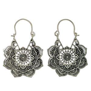 Pendientes aros diseño mandala plata 925