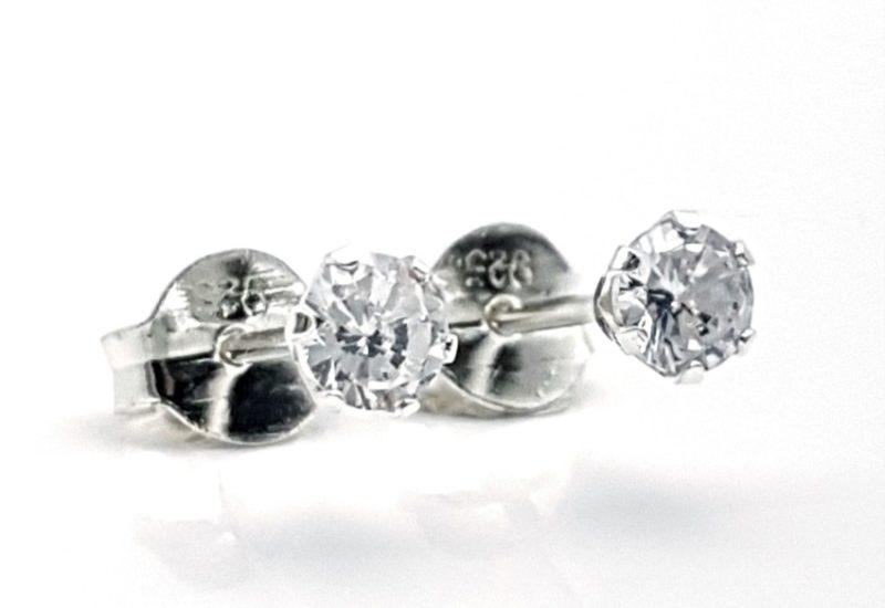 Pendientes mini circonitas plata