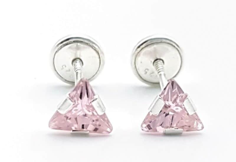 Pendientes triángulo rosa circonita