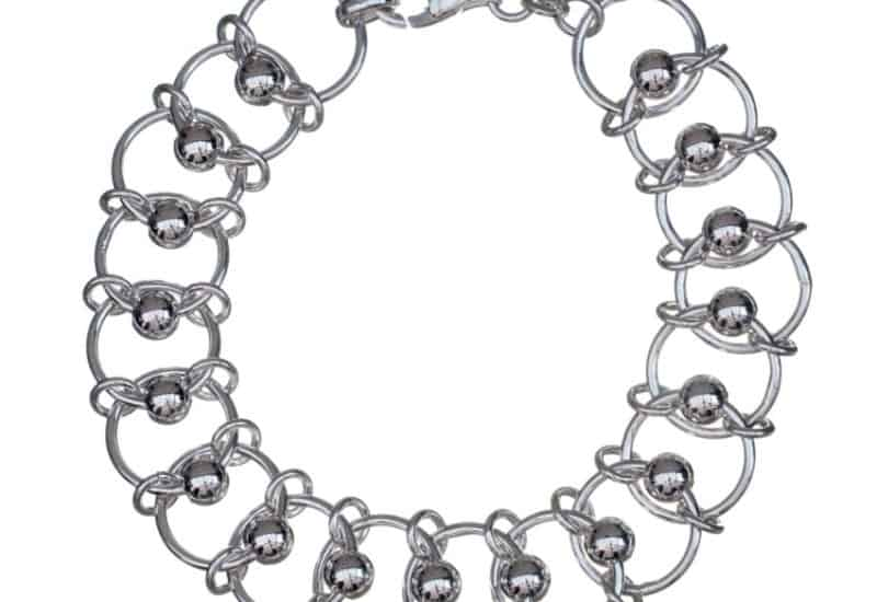 Pulsera de plata 925 compuesto por aritos y bolas entrelazadas