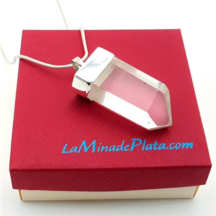 Punta cuarzo blanco transparente en colgante de plata (1)