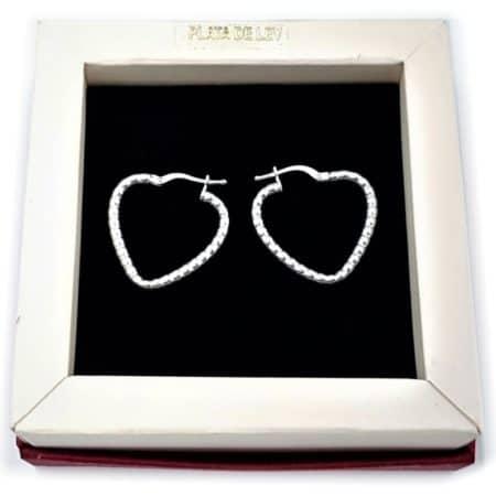 Aros de plata de bolitas con forma de corazón