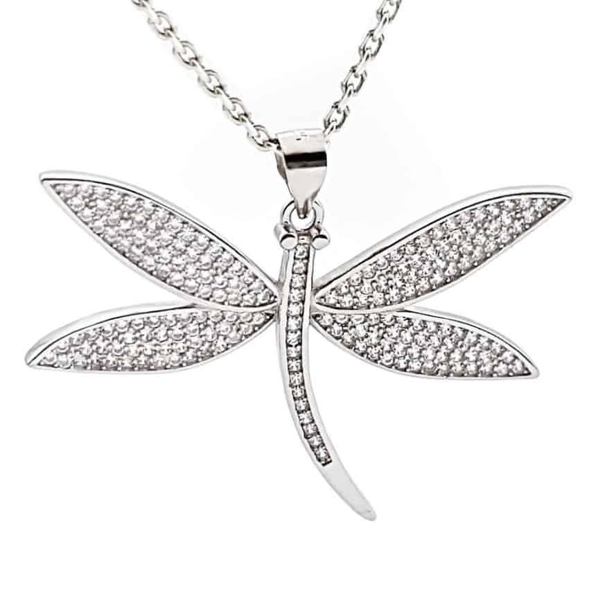 libélula de plata con circonitas 1