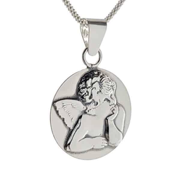 Colgante medalla angelito de plata