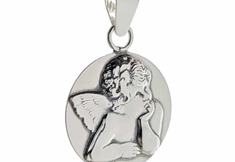 Colgante medalla de angelito realizado en plata 925.