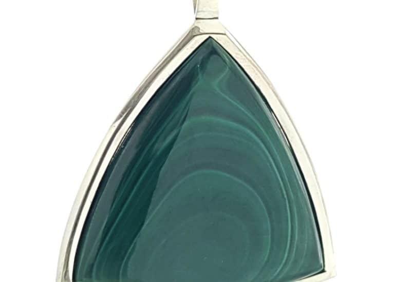 Malaquita colgante plata 925 cabujón triangular