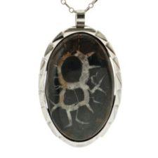Colgante septaria en plata. Roca también llamada piedra tortuga