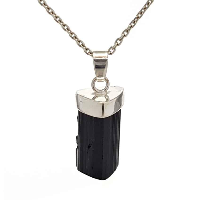 colgante cristal natural de turmalina negra en plata 925 (1)