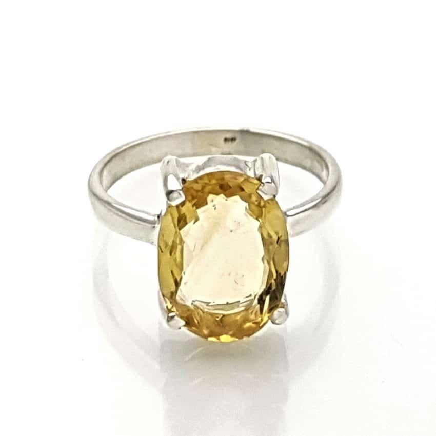 Anillo de piedra en talla oval de cuarzo citrino (2)