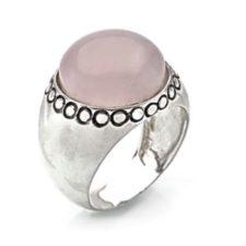 Anillo de plata 925 y gema semipreciosa de cuarzo rosa (1)
