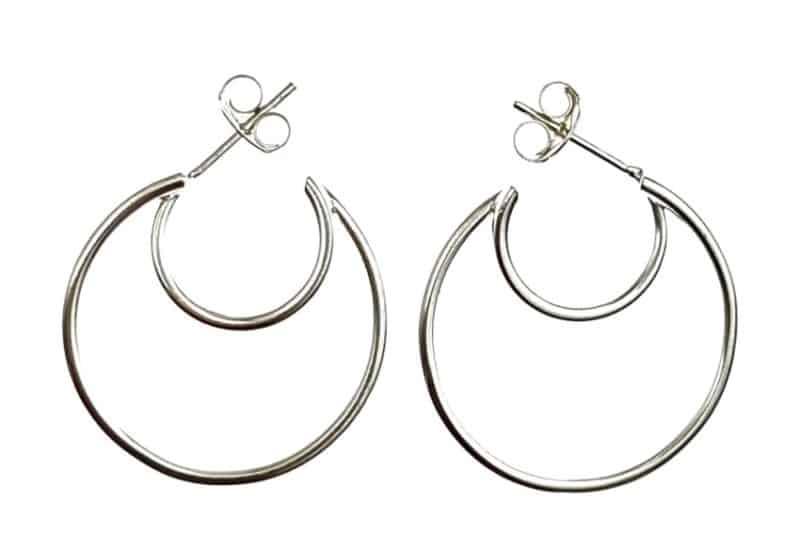 Pendientes doble aros de tubo en plata