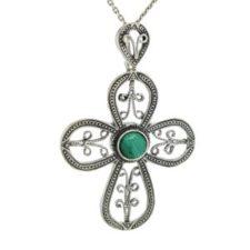 Colgante cruz de plata con malaquita