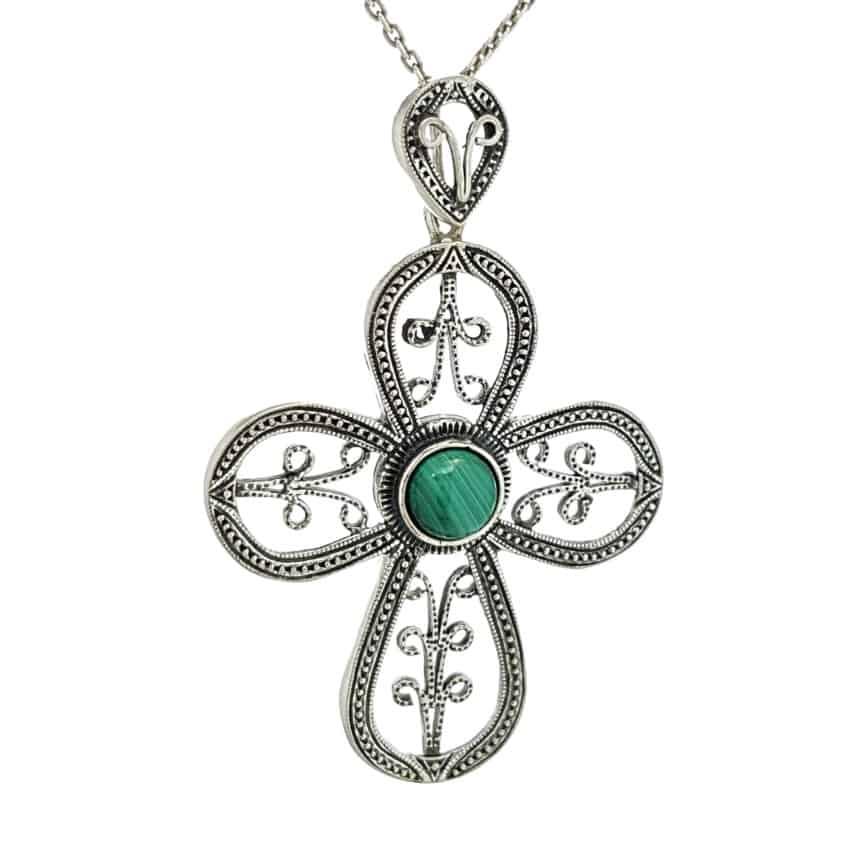 Colgante cruz de plata con malaquita (1)