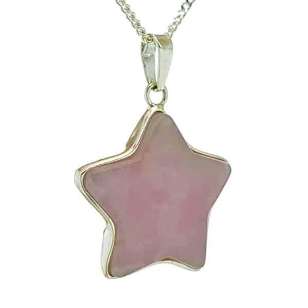 Colgante estrella de cuarzo rosa en plata 925 (3)