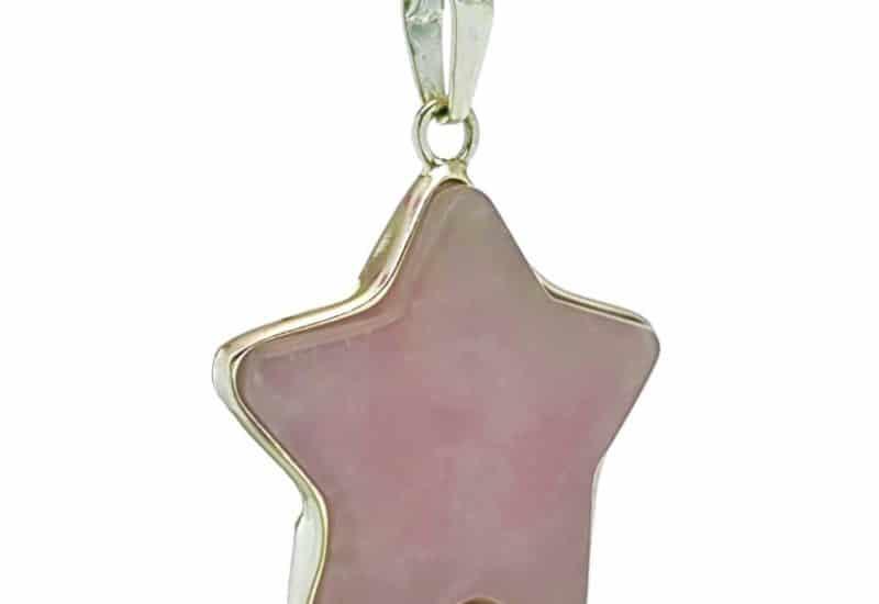 Colgante estrella de cuarzo rosa en plata
