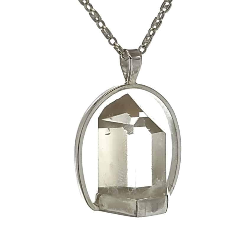 Colgante punta de cuarzo cristal de roca de Brasil en plata 925 (1)