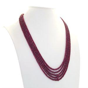 Collar 5 tiras de rubí natural facetado de longitud adaptable
