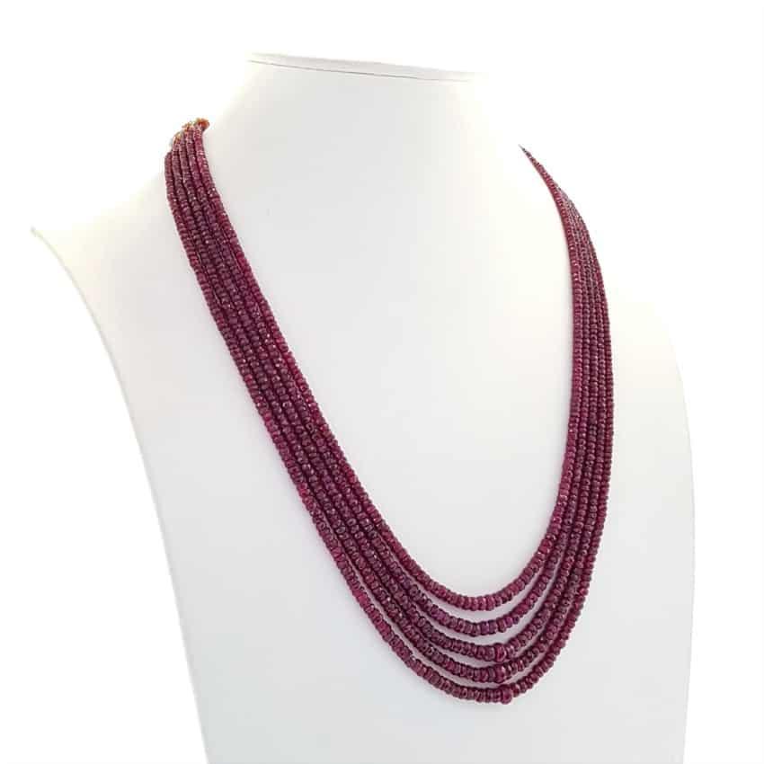 Collar de rubíes naturales de 5 hilos de piedras facetadas (4)